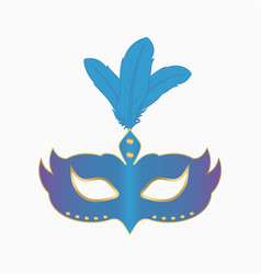 carnival face mask with feathers vector image