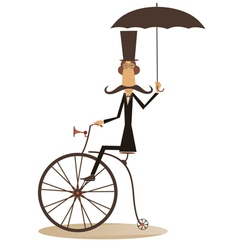 Cartoon man rides a bike vector image