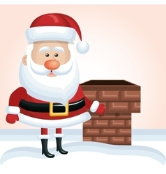 cartoon santa claus xmas chimney snow design vector image