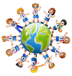 children around the earth isolated on white backgr vector image