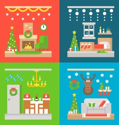 Christmas interior decoration flat design vector image