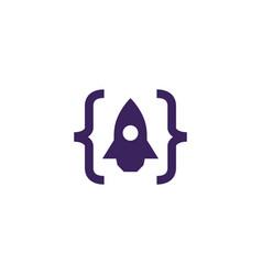 code launch rocket logo icon vector image