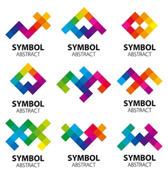 Collection of abstract logos of the modules vector