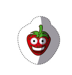 Colorful kawaii fruits strawberry happy icon vector