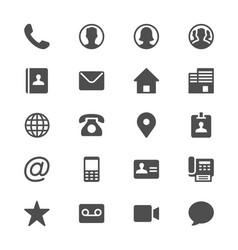 Contact glyph icons vector