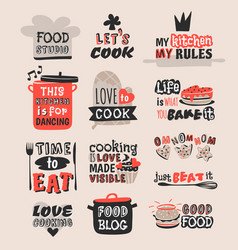 Coocking badge motivation text vector