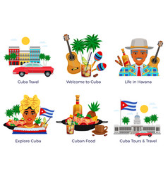 cuba travel icons set vector image
