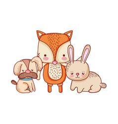 Cute animals dog fox and rabbit cartoon isolated vector
