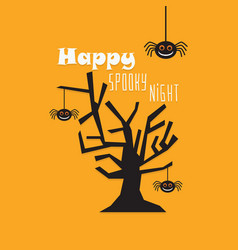 Cute happy spooky night tree and spiders card vector