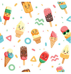 Cute kawaii ice cream seamless pattern with vector