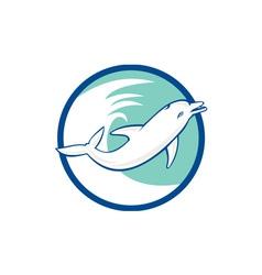 Dolphin jumping waves circle retro vector
