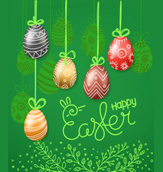 easter greeting card eggs 3d and in doodle vector image