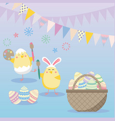Easter with egg chicken and flower spring vector