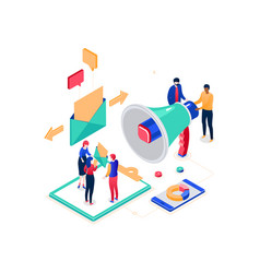 Email marketing - modern colorful isometric vector