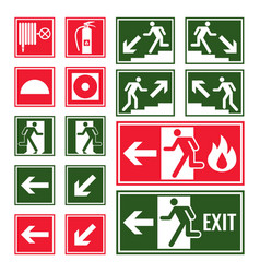 evacuation and emergency signs in green and red vector image