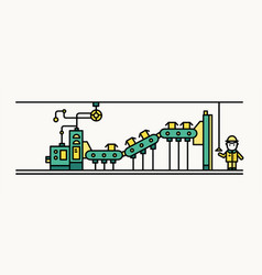factory belt conveyor conveying boxes worker vector image