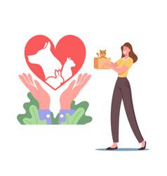 female character hold little kitten in carton box vector image