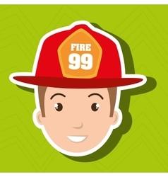 Firefighter man service fire vector