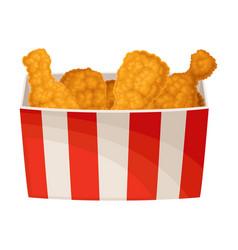 Fried fast food chicken legs packed in takeaway vector