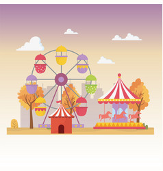 fun fair carnival carosuel tent ferris wheel vector image