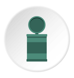 Garbage bin with opening lid icon circle vector