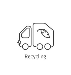 garbage truck thin line icon vector image