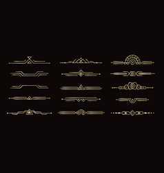 geometric line dividers art deco dividers set for vector image