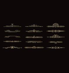 geometric line dividers art deco dividers set vector image
