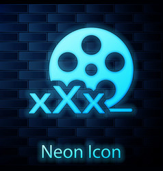 Glowing neon film reel with inscription xxx icon vector
