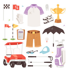 Golf golfers sportswear and golfball for vector