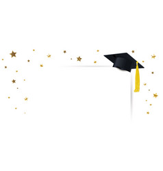 graduate cap and diploma with confetti gold vector image