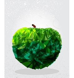 Green apple geometric shape vector