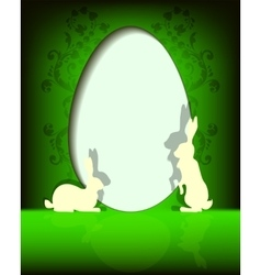 Green design Easter eggs with bunnies vector
