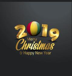 Guinea flag 2019 merry christmas typography new vector
