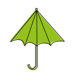 half closed umbrella sideview icon image vector image