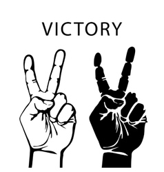 hand with victory sign vector image