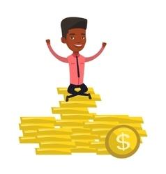 Happy businessman sitting on golden coins vector