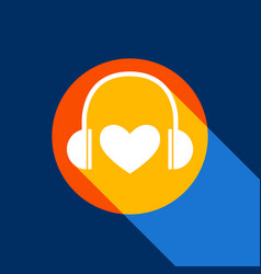 headphones with heart white icon on vector image
