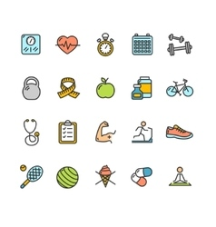 Health Fitness Icon Color Set vector image