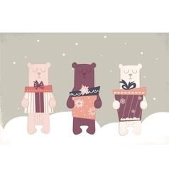 Holiday of a cute polar bears vector