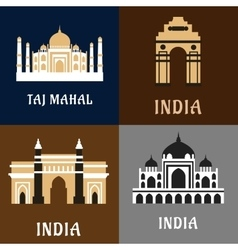 Indian historical and landmark flat icons vector image