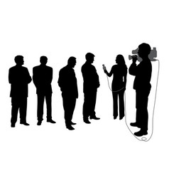 Interview with group people with cameraman vector
