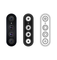 Isolated quad rear camera smartphone in vector