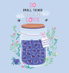 Jar of blueberry jam with cute kawaii berries vector