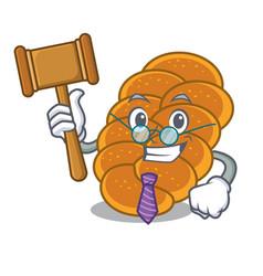 Judge challah mascot cartoon style vector
