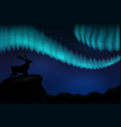 landscapes northern lights in starry sky and vector image