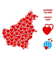 Lovely borneo island map mosaic of hearts vector