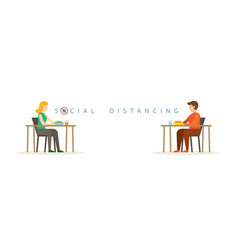 Man and woman eating on table social distancing vector