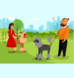Man and woman walking with dog vector