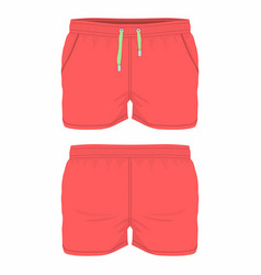 Mens red sport shorts vector